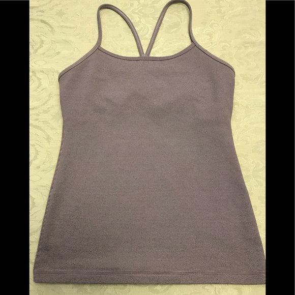 lululemon athletica Tops - Lululemon Power Y Tank in grey and white. Size 6.
